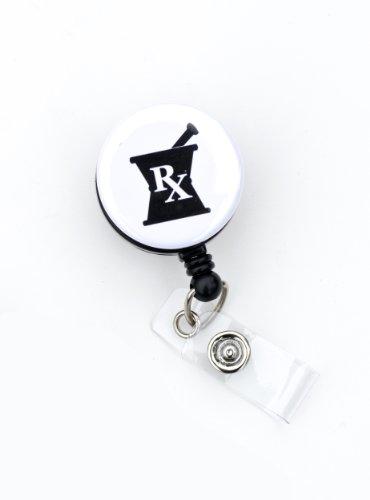 "Black Mortar and Pestle 1.25"" Badge Reel/ Pharmacist/Registered Pharmacist/RX Retractable Badge Reel/ ID Badge Holder- Solo badge reel or Rhinestone lanyard and Badge Reel Set (Mortar and Pestle 1.25"" Solo Reel)"