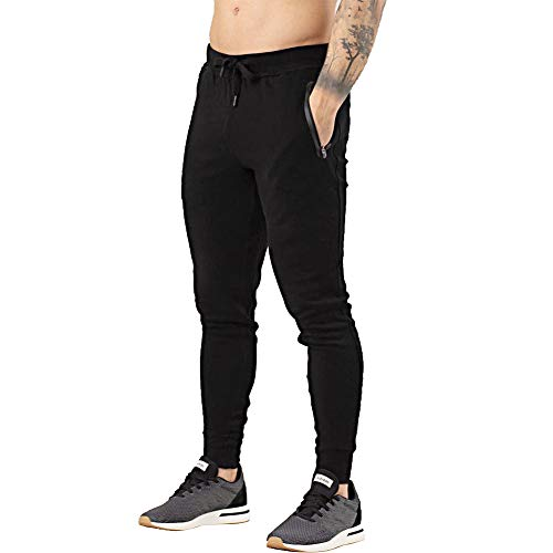 BUXKR Men's Jogger Tapered Active Pants for Gym and Bodybuilding Running Workout with Elastic Trousers,Black,M
