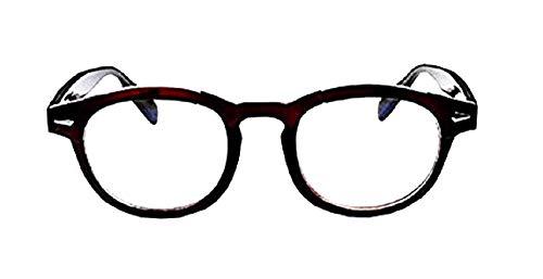 KIRALOVE Gafas Johnny Depp para hombre - mujer - moda - lentes transparentes - no graduadas - retro - estilo moscot - marrón - cine - tv
