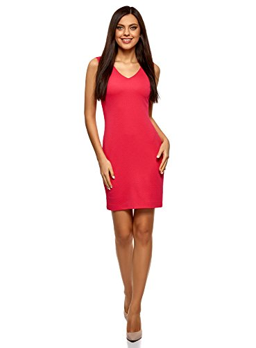 oodji Collection Damen Ärmelloses Kleid aus Strukturiertem Stoff, Rosa, DE 36 / EU 38 / S