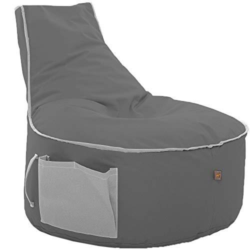 Sitzsack BeanBag in versch. Farben wählbar Indoor Outdoor mit EPS Sytropor Füllung- Sessel Kissen Sofa Sitzkissen Bodenkissen (Erwachsene, Anthrizit mit Grau)
