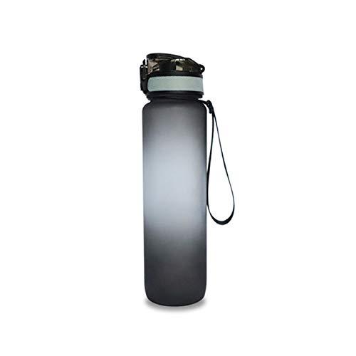 ZHANGYU Sport Botella con Marcador Tiempo Y Filtro One Click Flip Tapa BPA Free Anti-Fugas Plástico Ecológico Deportes Deportes De La Copa para Niños, Gimnasio, Senderismo, Bicicleta,Negro