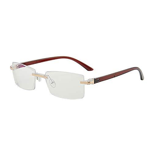CHABED Unisex Langlebig Blu-Ray Brille Ultraleichte Rahmenlose Brille, Myopie Gegen Blaulicht, Computerbrille A.