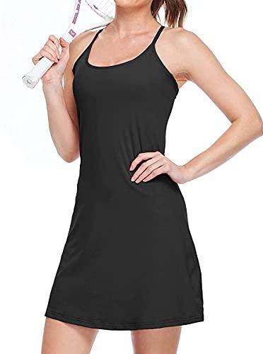 Jegge - Abito da tennis senza maniche da donna, con reggiseno e pantaloncini integrati, con tasche, Nero , M