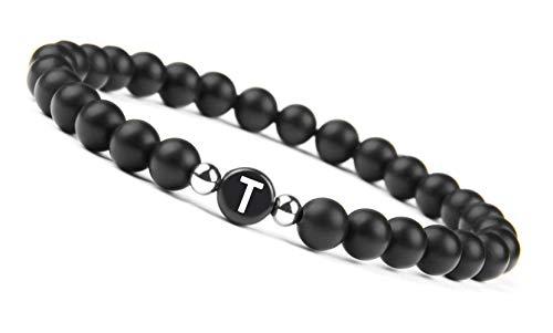 Black Onyx Handmade Bracelet w/ Engraved Initial   T Tayla Talia Tammy Teri Theresa Tessa Terri Tasha Tawana Tyra Trixy Tracy Tiffany Tina Tavis Tiger Tanner Tobias Tracey Tom