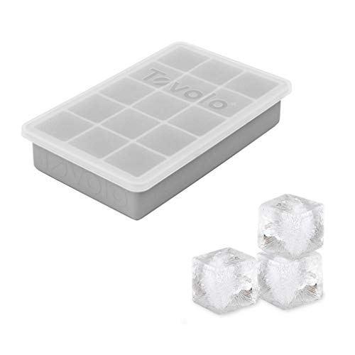 """Tovolo Perfect Lid 1.25"""" Cocktails & Smoothies, BPA-Free Silicone, Dishwasher-Safe Ice Cube Tray, Set of 1, Oyster Gray"""
