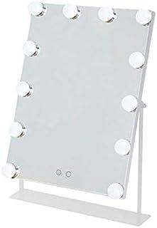 ZRL77y Makeup Mirror Fill Light Beauty Mirror With Bulb Mirror Vanity Mirror Portable Creative Mirror (Color : White)