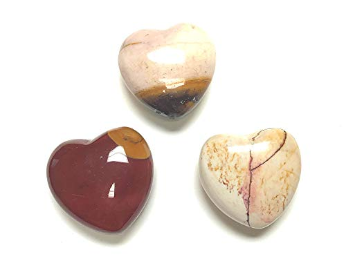 Zentron Crystal Collection 30MM All Natural Polished Pocket Gemstone Crystal Puff Heart and Velvet Pouch (Fancy Jasper)