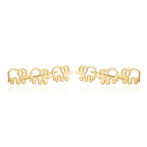Yixikejiyouxian Pendientes, Moda Elefante Pendientes con Forma Infantil Mini Pendientes de asta Lindos Personalizado para niñas - Oro 32X9Mm