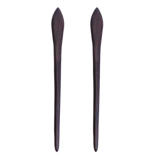 Lurrose 2 Piezas de Palillos de Madera Hechos a Mano Vintage Palillos de Pelo Tocado de Pelo Accesorios para El Cabello Largo para Niñas Mujeres (Patrón 1)