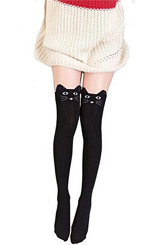 Calcetines hasta la rodilla para mujer, diseño de oso de gato, calcetines largos en el muslo