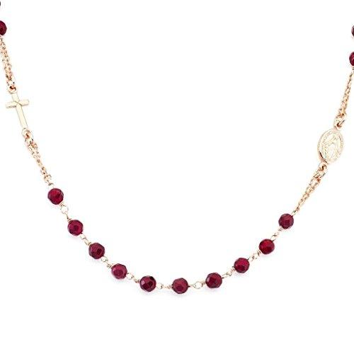 Amen Collana In Argento 925 Collezione Rosari - Colore Rosè - Misura Unica Rosario Girocollo Agata Rubino