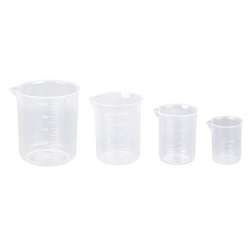 Pixnor 4 béchers gradués en plastique transparent 50 ml 150 ml 250 ml 500 ml