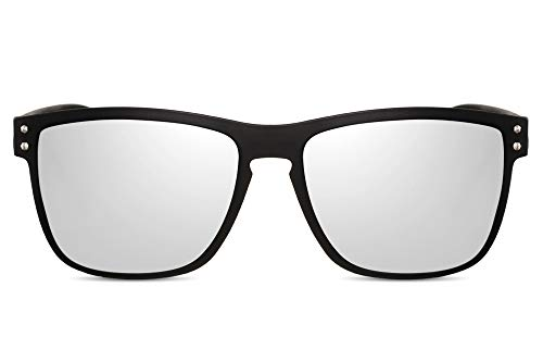 Cheapass Gafas de Sol Deportivas Gafas Montura Negra Mate con Cristales Plateados Espejados para Hombre con 100% Protección UV400