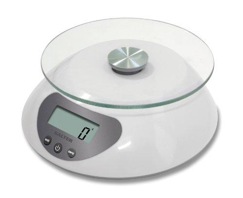 SALTER Digitale keukenweegschaal, elegant glasplatform/wit design, elektronisch voor thuis in de keuken, wegen van levensmiddelen tot 5 kg + vloeistoffen ml en fl. Oz One Size