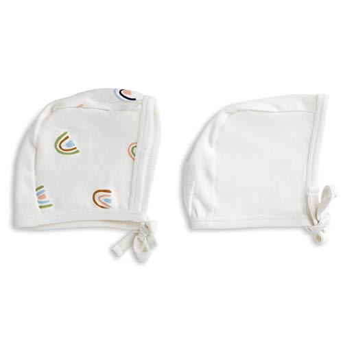 MakeMake Organics Organic Cotton Bonnet Hat - Set of 2 Size One Size, Rainbow & Natural