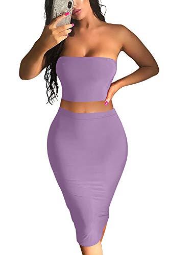 YMDUCH Women's Sexy Summer Crop Tube Top 2 Pieces Set Bodycon Midi Club Dress Purple