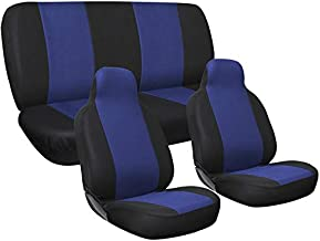 Motorup America Auto Seat Cover Full Set - Fits Select Vehicles Car Truck Van SUV - Blue & Black