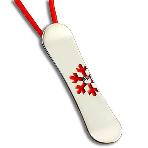 Silber Schmuck Anhänger Snowboard Gr M Snowflake Red mit Swarovski Kristall