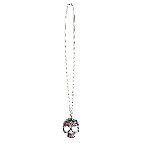 Collana lunga Catrina Dia de los Muertos con pendente teschio in metallo