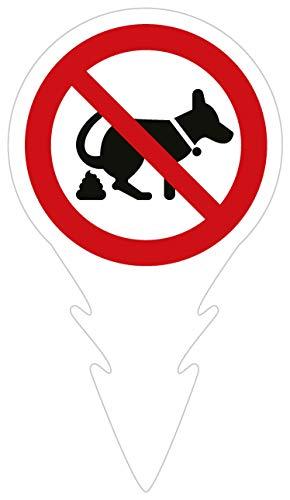 Kein Hundeklo Schild Verbot mit Widerhaken | Steckschild 18 x 31,8 cm | 3mm Alu-Dibond-Platte