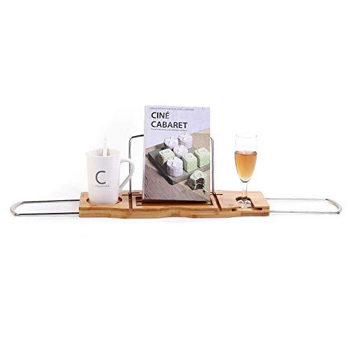 LAMZH Bandeja de bañera con soporte para libros, bandeja de bañera, accesorios de mesa de baño extensibles, bandejas de baño de bambú con brazos antideslizantes, ajustable 45-85 cm