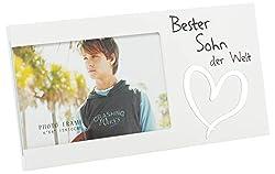Brandsseller Bilderrahmen Fotorahmen - Beste Sohn der Welt - mit Spiegelherz 25x13x1,5 cm Matt-Weiß