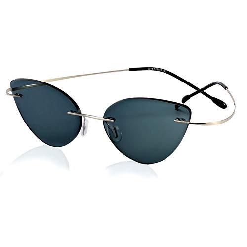 HQMGLASSES Smart Frameless fotocromatiche Occhiali da Lettura all'aperto, Ultraleggero Cat-Eye delle Donne degli Occhiali da Sole / UV400 / Resistente ai Raggi UV diottrie +1,0-+3,0,Argento,+3.0