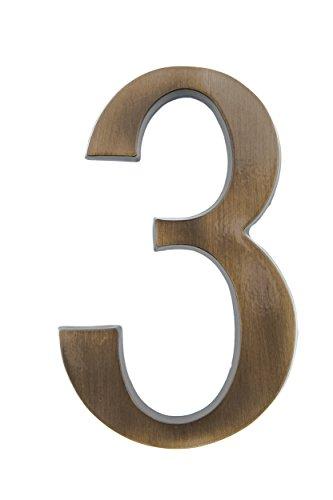 HUBER Hausnummer Nr. 3 Messing antike 20 cm, edles dreidimensionales Design