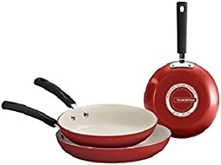 Tramontina 80151/585DS Ceramic-Reinforced Nonstick Fry Pan Set, 3 Piece, Red, Made in USA