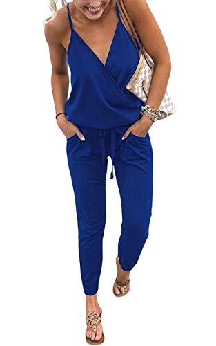 ECOWISH Damen Jumpsuit Lang V Ausschnitt Overall Sommer Ärmellos Hosenanzug Träger Playsuit Romper Blau S