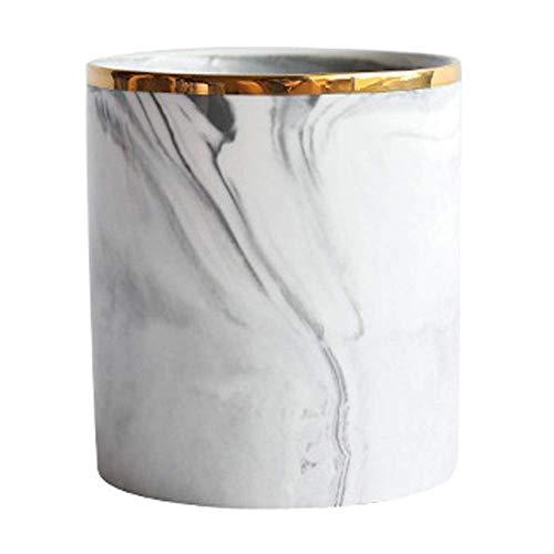 Lanhope Make-Up Pinsel Halter Kosmetische Aufbewahrungsbox Organizer Chic Marmor Styling für Schönheit Eitelkeit Schlafzimmer Badezimmer Arbeitsplatte (Weiß)