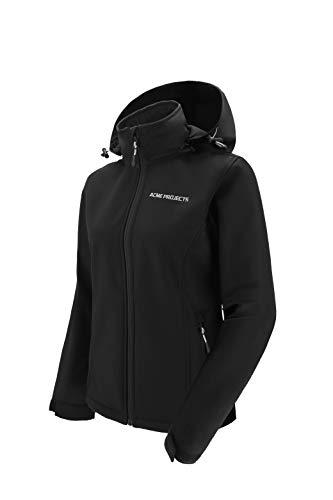 Acme Projects, Frauen, Mit Fleece gefütterte Softshell-Jacke mit abnehmbarer Kapuze, wasserdicht, atmungsaktiv, 8000 mm / 5000 g, YKK-Reißverschluss (schwarz, Damen, 40)