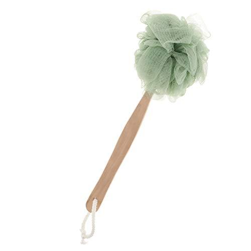 sharprepublic Éponge Douche Puff Exfoliant Maille Brosse Brosseur Massage Gommage Corps Laver Puff Avec Longue Poignée - Vert