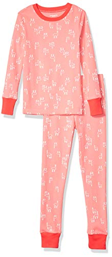 Amazon Essentials Mädchen Long-Sleeve Tight-fit 2-Piece Pajama Set, Mehrfarbig (Pink Llamas), 6 (S )