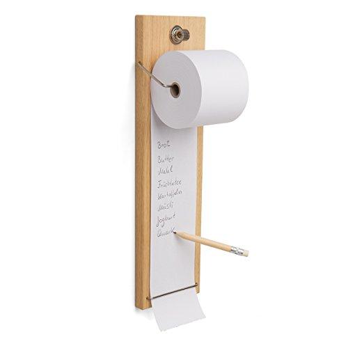 Notizrollenhalter aus Holz (Eiche massiv) für die Wand inkl. Bonrolle, Stiftehalter und Bleistift mit Radiergummi - Einkaufsliste und Notizblock für die Küche zum Aufhängen - Memoboard KasseRolle (60.0)
