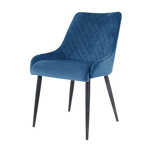 Damiware Bella Stuhl   Design Wohnzimmerstuhl Esszimmerstuhle Bürostuhl mit Stoffbezug   (Samt Blau)