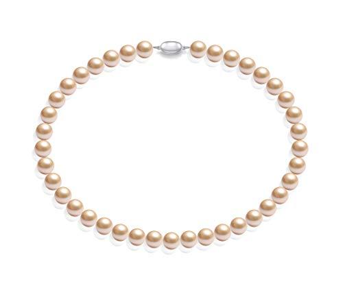 Schmuckwilly Muschelkernperlen Perlenkette Perlen Collier - leicht rosa Hochwertige Damen Muschelkernperlen Kette aus echter Muschel 45cm 10mm mk10mm093-45