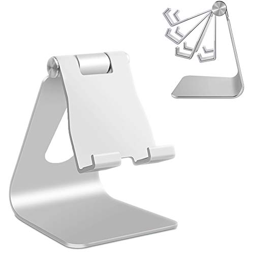 Adjustable Cell Phone Stand, PowerData Multi-Angle Aluminum Non-Slip Phone Stand, Cradle, Dock, Holder, Aluminum Desktop Stand Compatible withiPhone Xs XR 8 X 7 6 6S Plus SE 5 5S 5C Charging, Desk Accessories, Android Smartphone-Silver