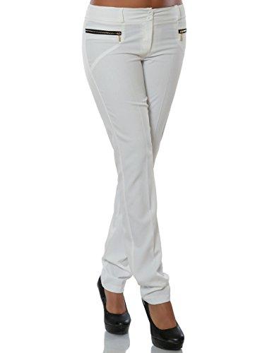 Damen Hose Business Stoffhose Straight Leg (Gerades Bein) No 15748 Weiß XXL / 44
