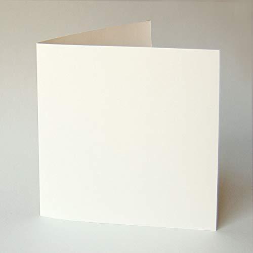 50 quadratische Blankokarten mit 50 passenden Umschlägen: altweiße Klappkarten 16 x 16 cm (Munken Pure 300 g/qm) mit altweißen quadratischen Kuverts 17 x 17 cm