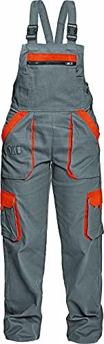DINOZAVR Max Damen Latzhose - Multi Taschen Baumwolle Atmungsaktiv und Leicht Arbeitshose - Grau/Orange 46