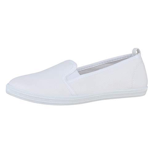 SCARPE VITA Damen Slipper Slip On Flats Bequeme Canvas Schuhe Stoff Sneaker Freizeitschuhe Flats 178976 Weiss White Total 40