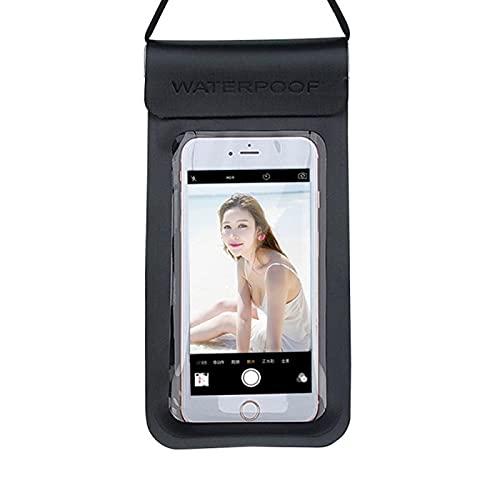 Resbalón del Teléfono a Prueba de Agua, Teléfono Móvil Bolsa Impermeable Cubierta De Buceo Pantalla Táctil Natación Y Rafting Especial para Teléfonos Móviles Menores De 6 Pulgadas (Color : Black)