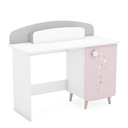 Kinderschreibtisch Sternschnuppe rosa weiß B 113 cm T 50 cm MDF Holz mit Schreibbox + 1 Tür Jugend Mädchen Schüler PC Computer Kinderzimmer