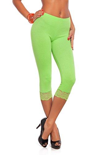 FUTURO FASHION® - Leggings mit 3/4-Länge - Baumwolle - mit Spitzensaum - alle Farben & Größen - Limettengrün - 42