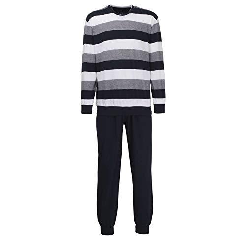 Herren Pyjama lang Zweiteiliger Schlafanzug mit Bündchen (50, Belair Blue)