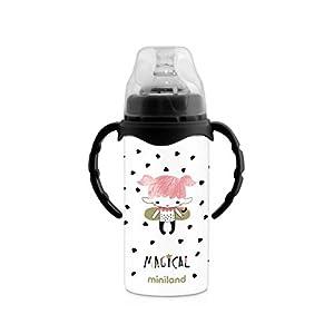 Miniland - Botella Termo biberón con asas y tetina. 240ml, niñas