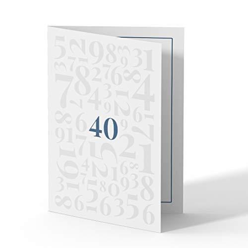 (10 x) Einladungskarten zum 40. Geburtstag Einladungen Karten Klappkarte Edel runder