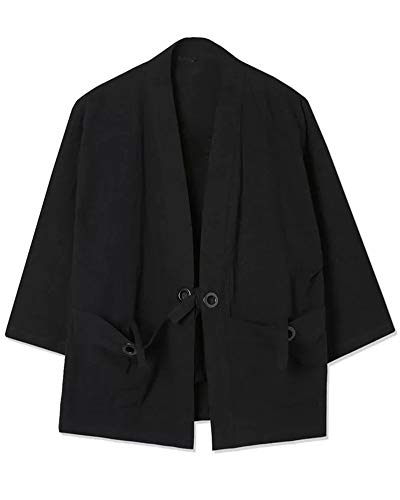 ZhuiKunA Hombres Vintage Japonés Kimono Camisa Haori Estampado Holgado Cárdigan Negro L